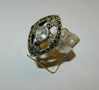 Jugendstil  Silberring Ring Aquamarin Markasiten FlussPerlen 925er Silber 18 mm