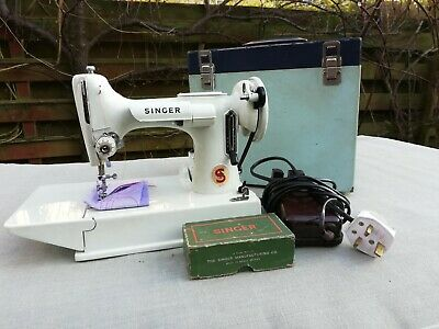 Vintage 1968 Singer 221K White Featherweight Sewing Machine Red S Serviced