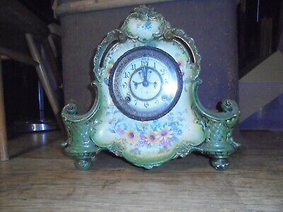 Antique Enamelled and Hand Painted Clock. Ansonia Clock Co New York.