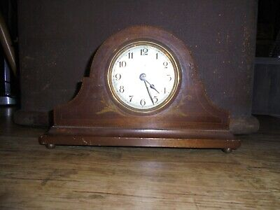 Antique Edwardian mahogany mantle clock with inlaid decoration. No Reserve.