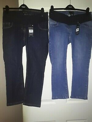 BNWT Next 2 x Under the Bump Crop Maternity Jeans - Size 8 Short