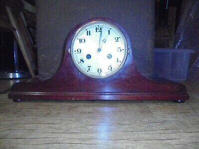Antique early 20th Century mahogany Napoleon hat mantle clock. No Reserve.