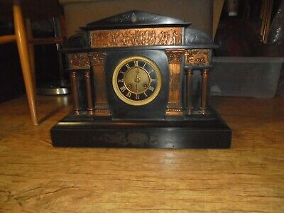 Antique Victorian Black Marble and Copper Mantle Clock. Stunning. See Photos.