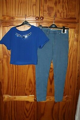Girls Outfit Jeggings  M&Co Crop Top Age 13 Years
