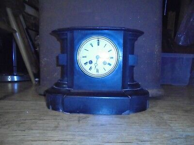 Victorian Ebonized Mantel Clock,White Enamelled Roman dial. Japy Freres movement