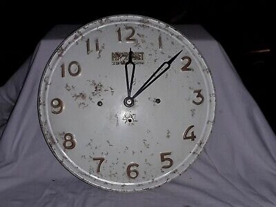 Vintage rare French SMI Painted Metal industrial Wall Clock Gwo