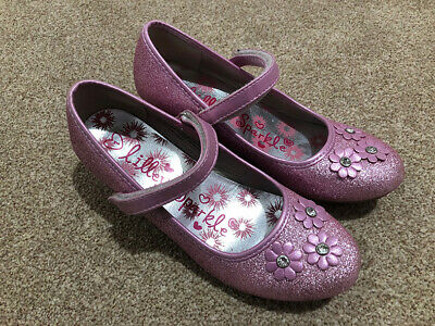 LILLEY SPARKLE Pink sparkly kitten heeled girls shoes - Size 1