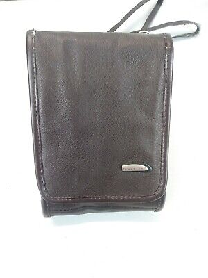 TRAVELON Genuine Brown Leather Crossbody Organizer Travel Wallet Preowned