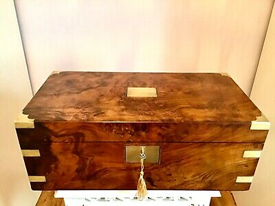 Superb Victorian 1865 Burr Walnut Campaign Writing Slope Box Sec- Drawers +Conts