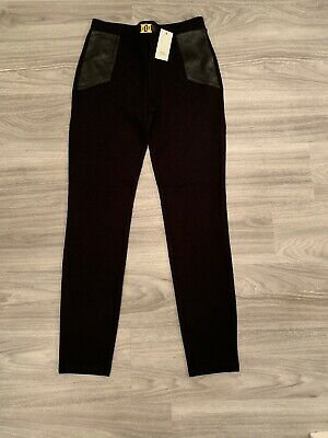 BNWT Girls Black River Island leggings With Faux Leather Detail - Age 11/12