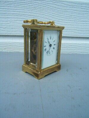 """Brass vintage carriage clock working keeping good time 5"""" tall (12cm) English"""