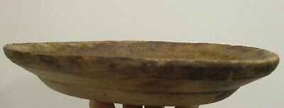 Early Antique Wooden Treen Plate Untouched Dark Patina Handmade