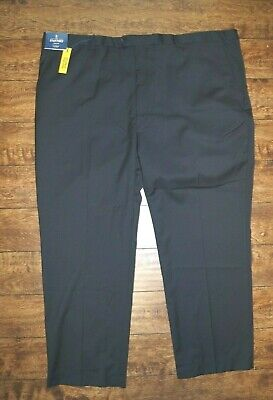 Stafford Mens Executive Big & Tall Fit Flat Front Various Sizes Black $135 Nwt