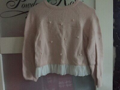 Girls Pretty Soft  Pink  Jumper With Pearls And Pleated Hem By Next Size 9 Years