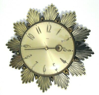 Vintage METAMEC Wall Clock 60s 70s working sunburst starburst flower style
