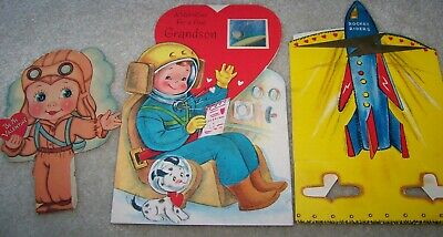 Pilot Space Age Astronaut Rocket Vintage Valentine's Day Cards Lot Used 40s-60s