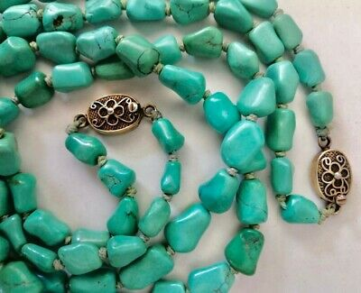 Vintage Chinese Export Sterling Silver Turquoise Nuget Beads Two Strand Necklace