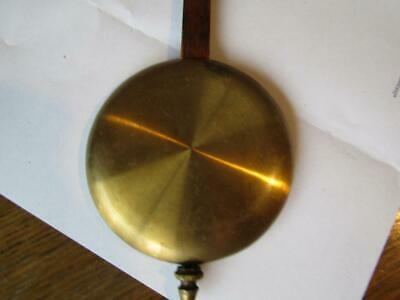 "Clock Pendulum Brass Tone Wooden Rod Vintage Bod 3.5"" Weight 7 oz 14"" Long"