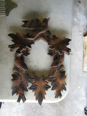 "Cuckoo Clock Case Topper & Clock Face with Bird 10 x 5""  Frame has been repaired"