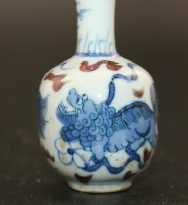 oriental Fine Antique Chinese and-drawn lion Porcelain Snuff Bottles