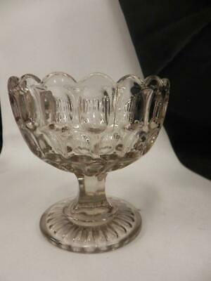 Smoke Grey Colored Antique Eapg Flint Glass Open Compote Thumbprint Rare
