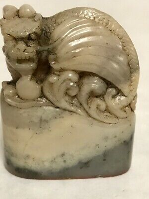 Vintage Foo Dog Chinese Hand Carved Soap Stone Seal Stamp Small Sculpture