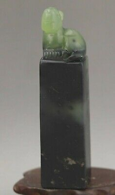 Chinese old natural jade hand-carved statue dragon seal 3.6 inch