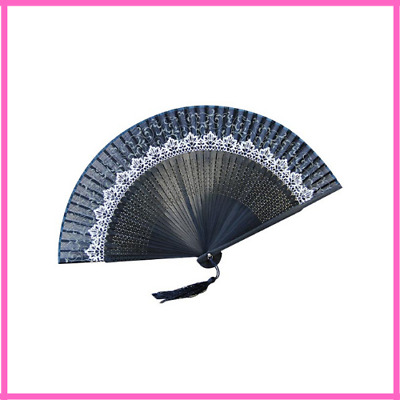 Bamboo Fan Chinese Style Lace Printed Silk Fan Face Vintage Craft Folding Wooden