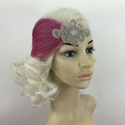 Gastby Retro Wedding 1920s Flapper Head Band Piece Pink Feather Facinator