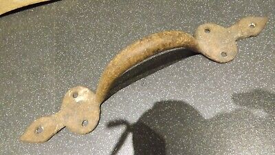"""Antique  Large Victorian Iron gate handle 13"""" gate door shed"""