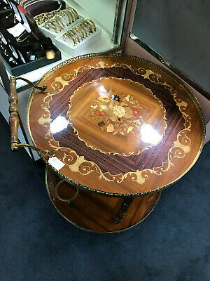 Round Italian Inlaid Liquor Cart