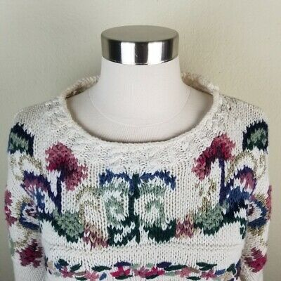 Vintage 80's Women's Sweater Ivory Pink Oversize Chunky Knit Floral Pullover Med