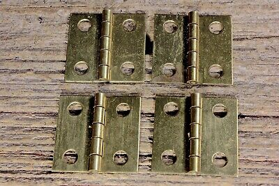 """4 old door Butthinges all solid brass 1 x 1"""" jewelry box vintagesmall little"""