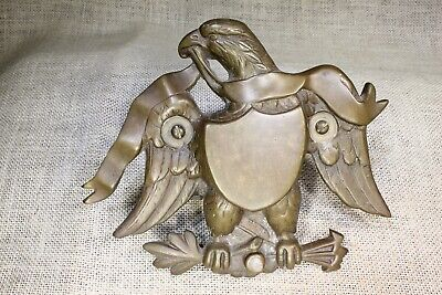 old Eagle & shield door knocker incomplete! vintage solid brass large size