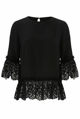Nicole Miller Women's Blouse Black Small S Crewneck Lace Trim Silk $295- #905