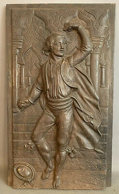 19thC Antique VICTORIAN CAST IRON Panel FLAMENCO DANCER Man FIREPLACE PLAQUE