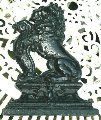 Antique Genuine Victorian Cast Iron Lion Rampant Doorstop Porter