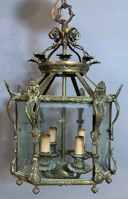 Antique FRENCH BRASS Ormolu PENDANT Style HANGING Light OLD Foyer CHANDELIER