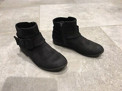 Girls Black Ankle Boots Suede Side Zip With Box On Size Kids 13 From H&M