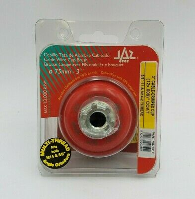 "JAZ 73010 3"" Cable Crimped Cup Brush 5/8""-11 M14-2 Thread 13000RPM Max Grinding"