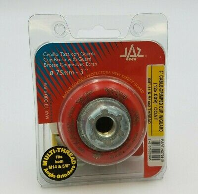 "JAZ 73910 3"" Cable Crimped Cup Brush Protective Guard 5/8""-11 M14 x 2 Thread NOS"