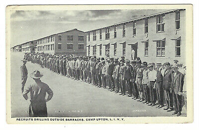 Postcard-WWI-Camp Upton New York-Army Recruits Drilling By Barracks-Yaphank-P2