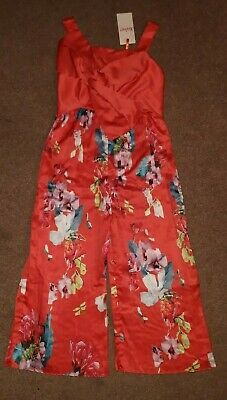 Ted Baker Girls Jumpsuit New Age 9 Orange/Red Floral Stunning Outfit