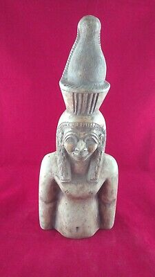 Ancient Egyptian Antiquities Half Statue of God Hathor  ( 1550–1070 BC)