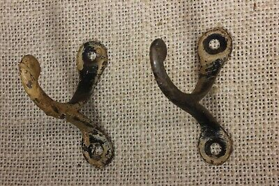 "2 old Single COAT HOOKS 2 1/8"" Farm school house wardrobe paint vintage 1850's"