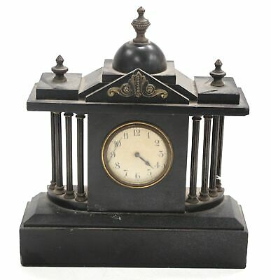 Antique Black Marble/Slate MANTEL CLOCK With Columns & Stepped Plinth - L05