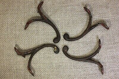 "4 Single COAT HOOKS 2 5/8"" school Farmhouse old rustic paint iron vintage 1850's"