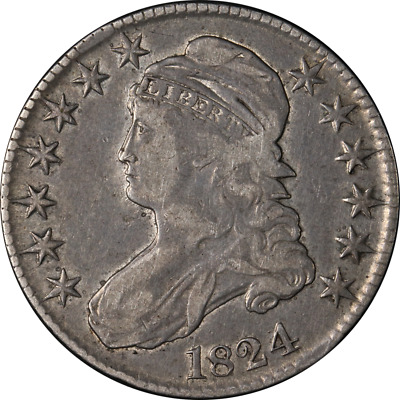 1824 Bust Half Dollar Choice VF+ 0-115 R.2 Great Eye Appeal Nice Strike