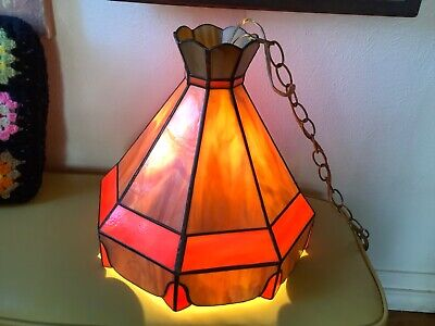 Vtg Tiffany style Hanging Swag Lamp Light Chandelier Retro Stained leaded Glass