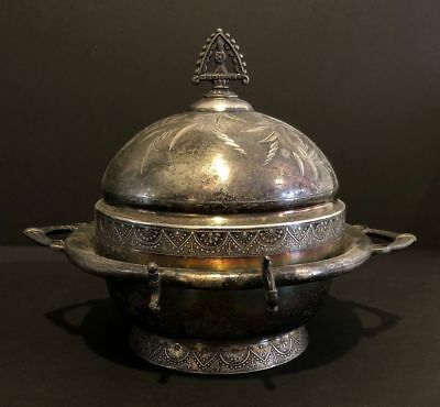 Victorian Antique Silverplate Butter Dome Dish w/out Knife Wm. Rogers Quadruple